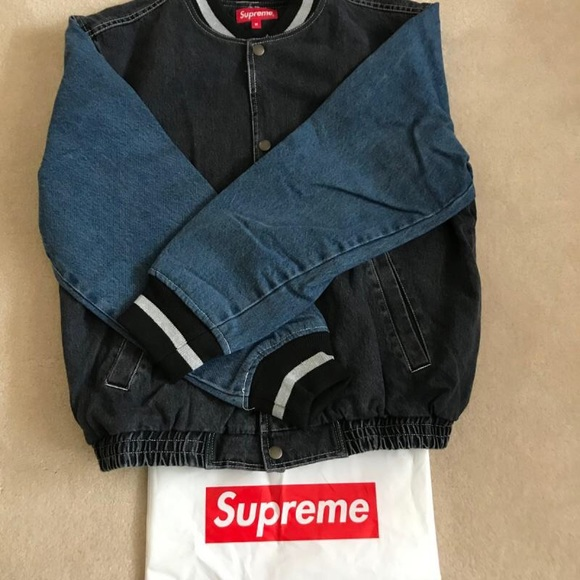 29537919c Supreme Denim Varsity Jacket